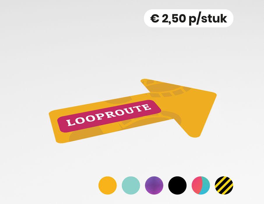 Looproute rechts  - Vloersticker - 20x30cm (10 stuks)