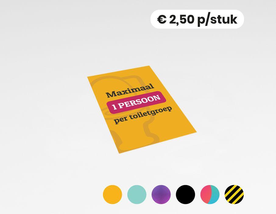 Maximaal 1 persoon per toiletgroep - Sticker - 20x30cm (10 stuks)