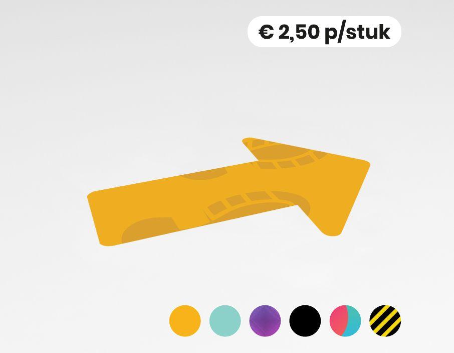 Pijl blanco - Vloersticker - 20x30cm (10 stuks)