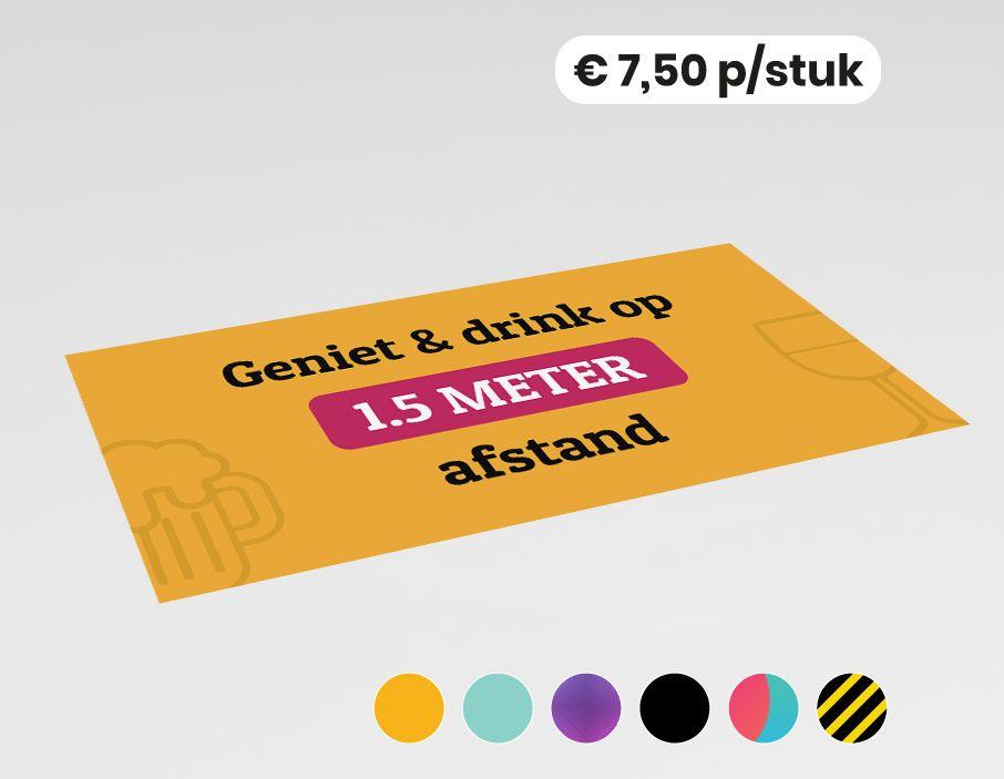 Geniet & drink op 1,5 meter afstand - Bedrukte barmat - Vinyl - 50x25cm