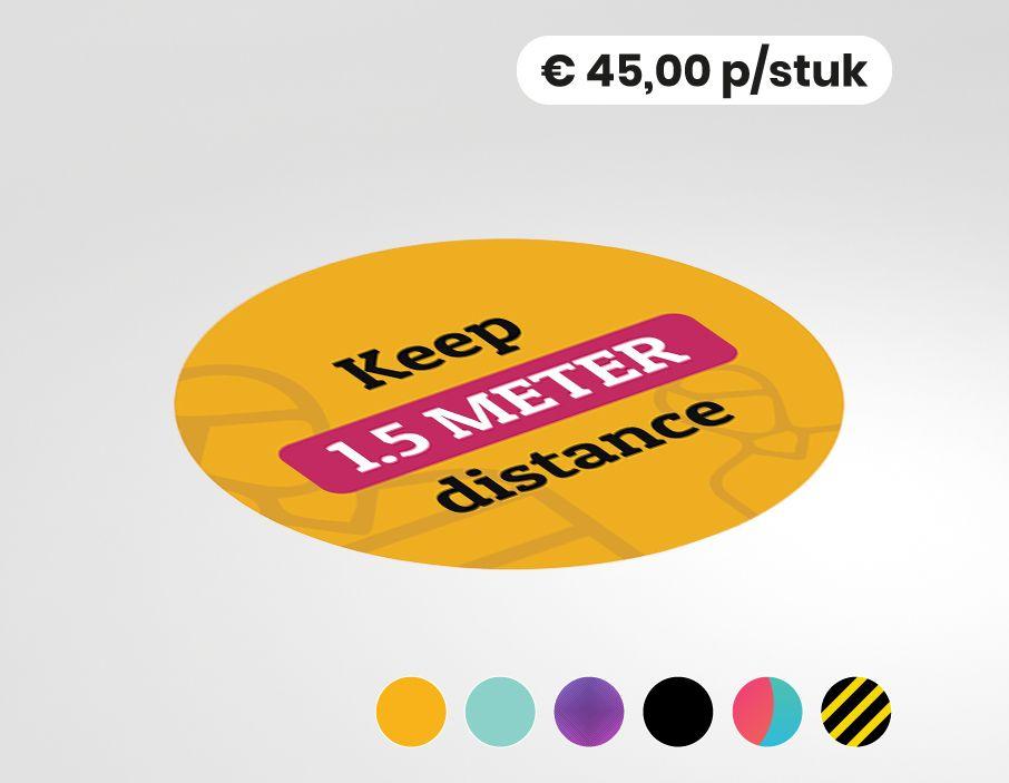 Keep 1,5 meter distance - Vloersticker - 150cm rond