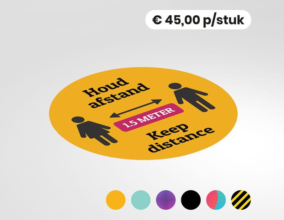 Houd afstand - Keep distance - Multi-language - Vloersticker - 150cm rond