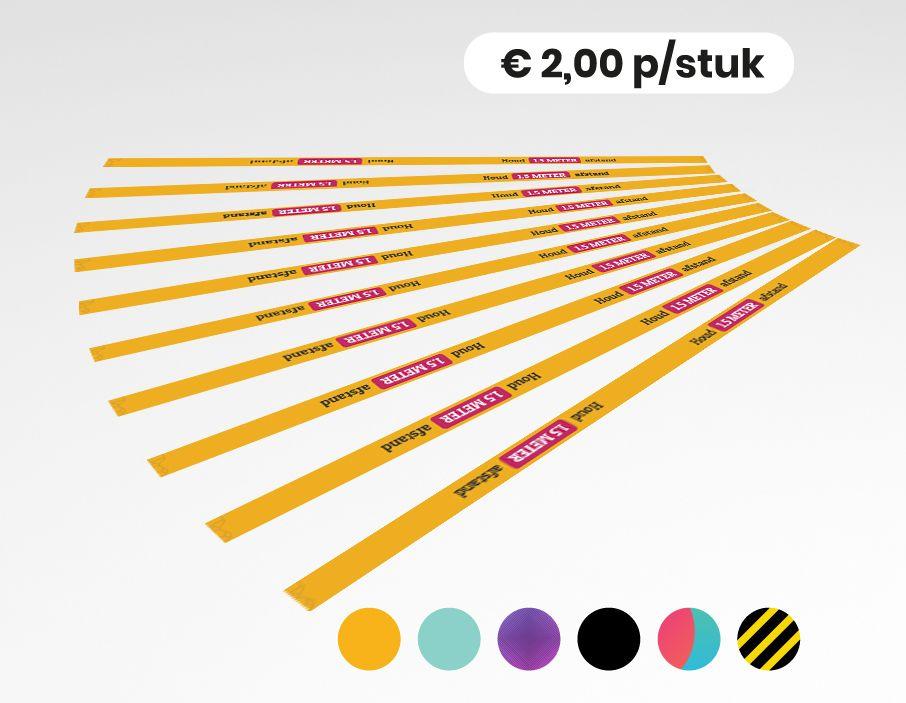 Houd 1,5 meter afstand - Twee richtingen - Vloersticker - 150x5cm (10 stuks)