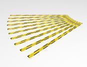 Houd 1,5 meter afstand - Twee richtingen - Vloersticker - 150x5cm (10 stuks) - Kleur: Caution