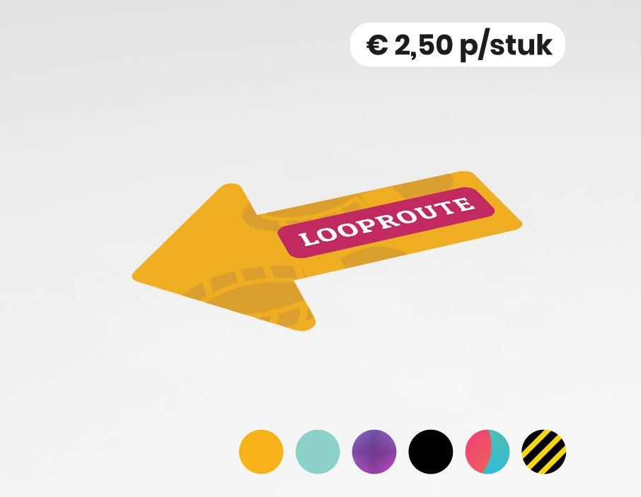 Looproute links - Vloerststicker - 20x30cm  (10 stuks)
