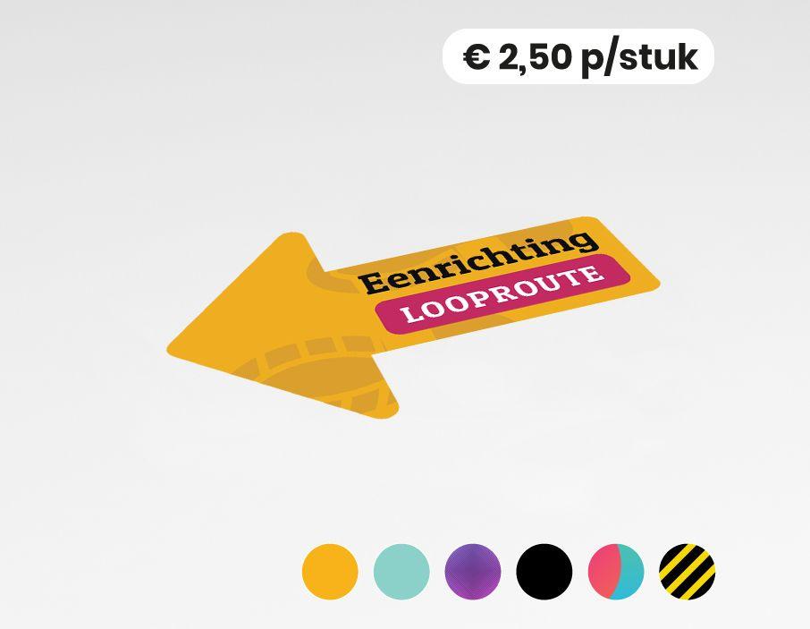 Eenrichting looproute links - Vloersticker - 30x20cm (10 stuks)