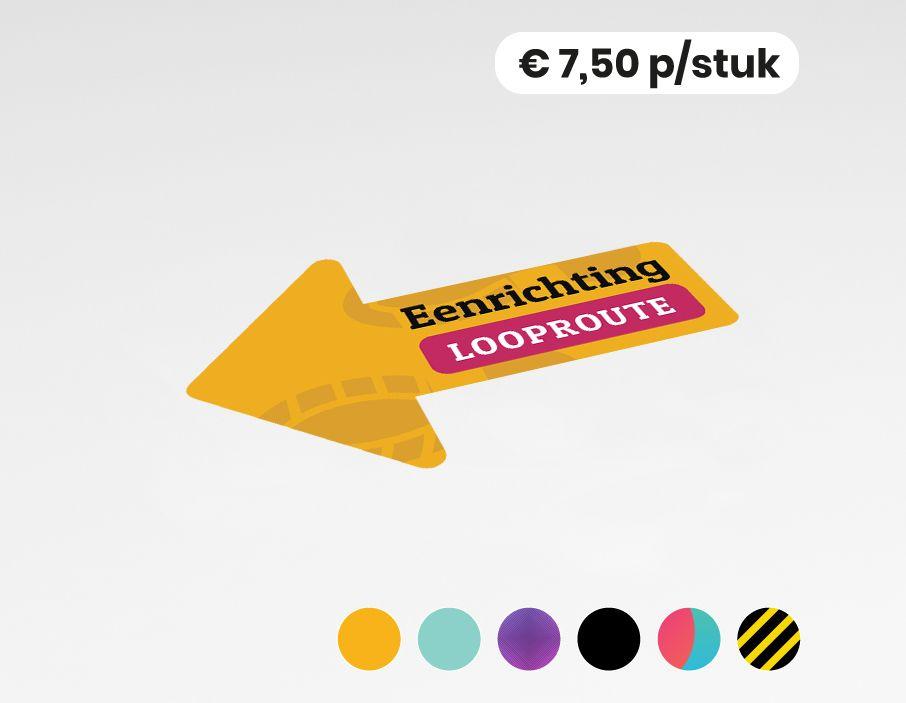 Eenrichting looproute links - Vloervinyl - 30x45 cm