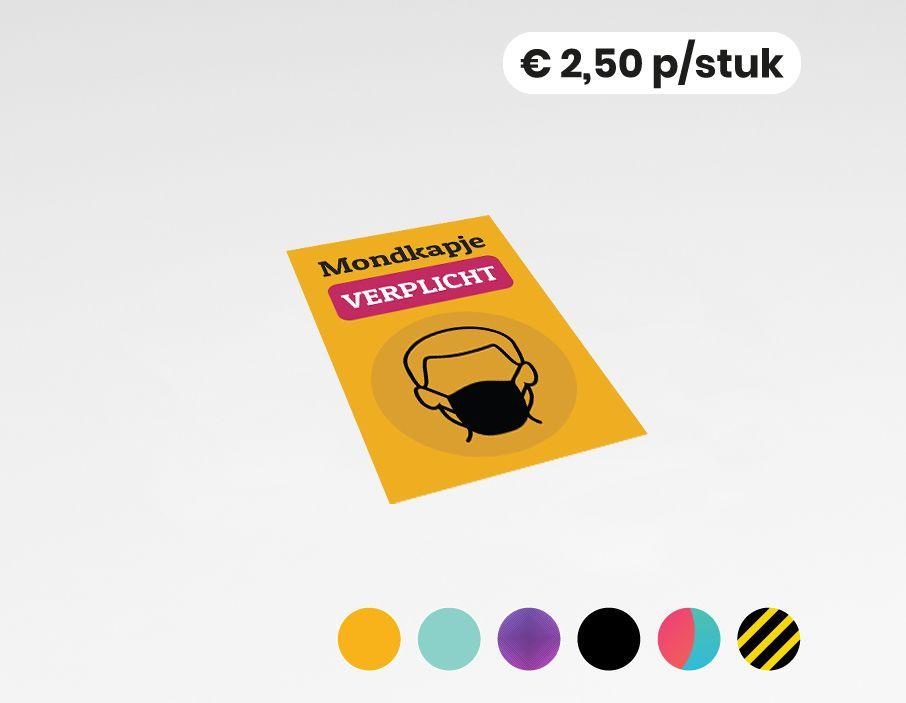 Mondkapje verplicht - Sticker - 20x30 cm (10 stuks)