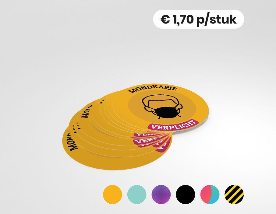 Mondkapje verplicht - Sticker - 25cm rond (10 stuks)