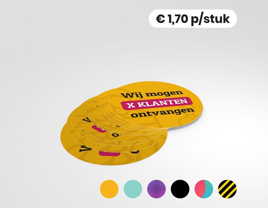 Wij mogen X klanten ontvangen - Gepersonaliseerde sticker - 25cm rond (10 stuks)