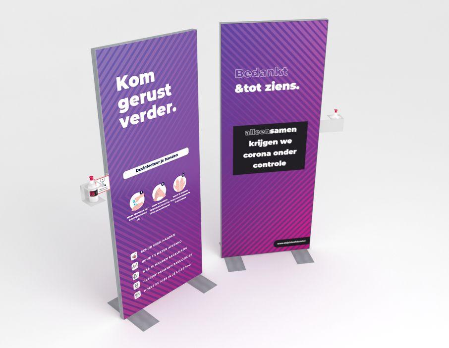 Handdesinfectie zuil incl. handgel 80x200cm Purple