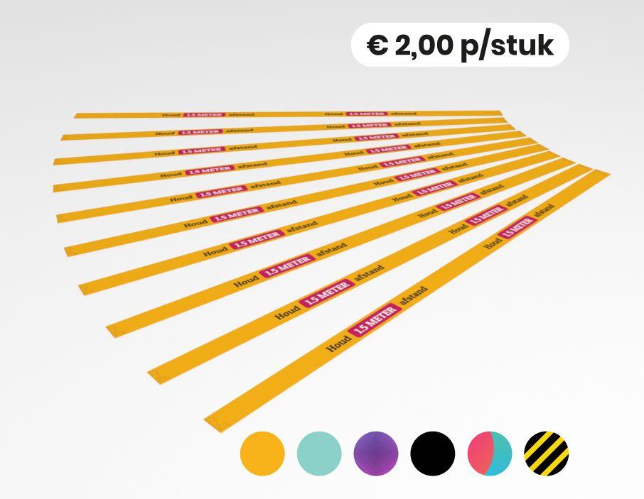 Houd 1,5 meter afstand - Vloersticker - 150x5cm (10 stuks)