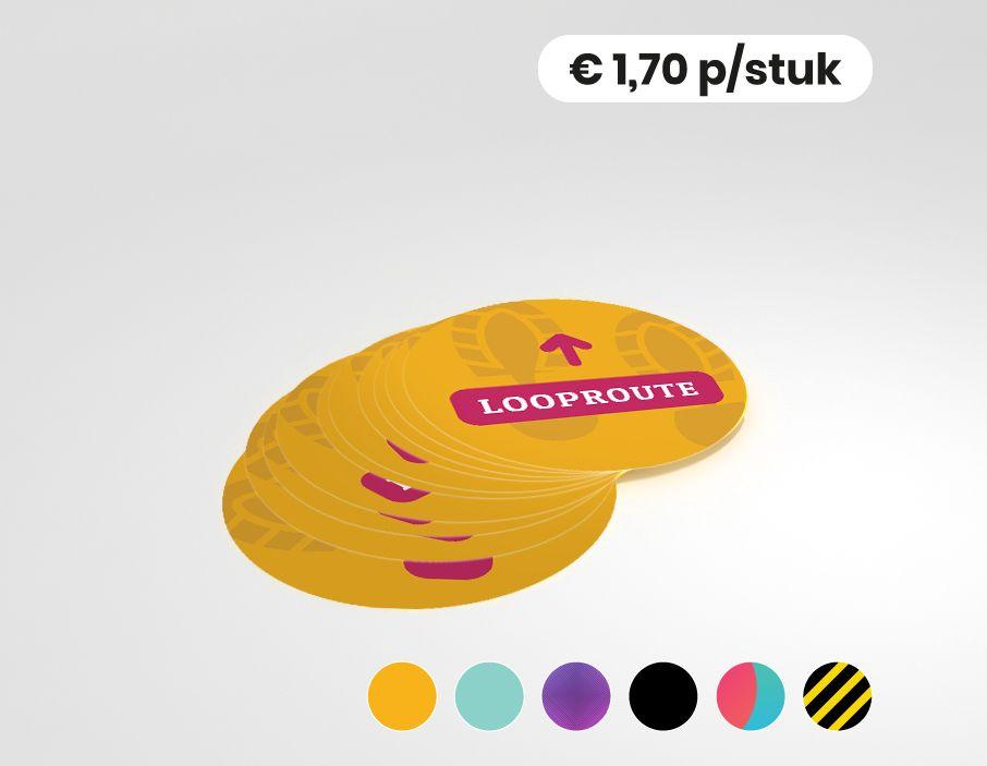 Looproute - Vloersticker - 25cm rond (10 stuks)