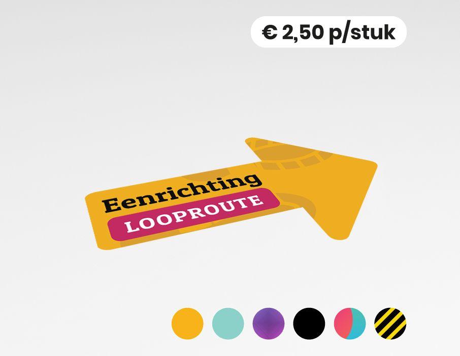 Eenrichting looproute rechts - Vloersticker - 20x30cm (10 stuks)