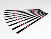Achter deze lijn wachten - Vloersticker -  150x5cm (10 stuks) - Kleur: Black